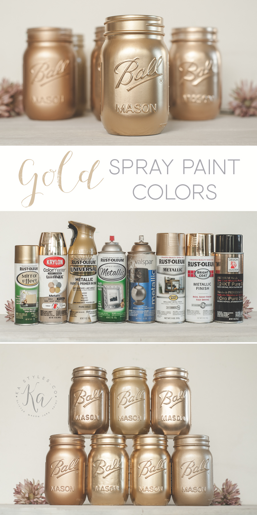 Best gold spray paint colors. Rust-oleum, Krylon, Design Master.