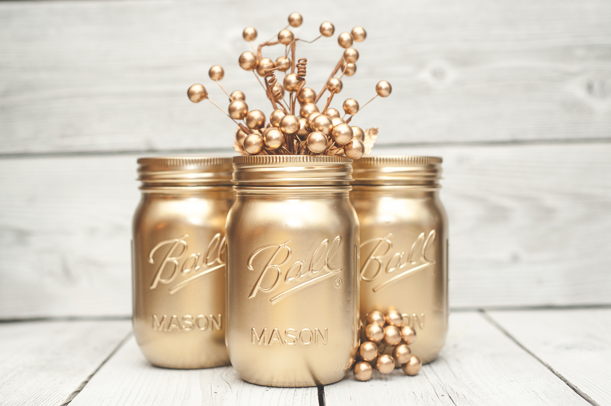 Gold mason jar decor.