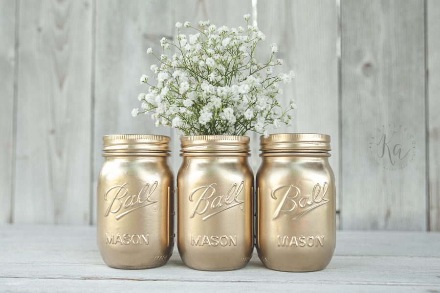 Rustoleum gold spray painted mason jars