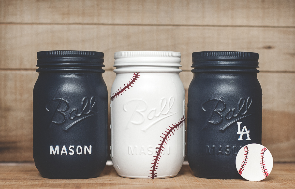 Baseball painted mason jars
