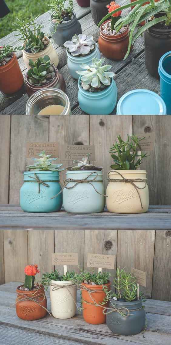 Succulent mason jar planter and herb garden