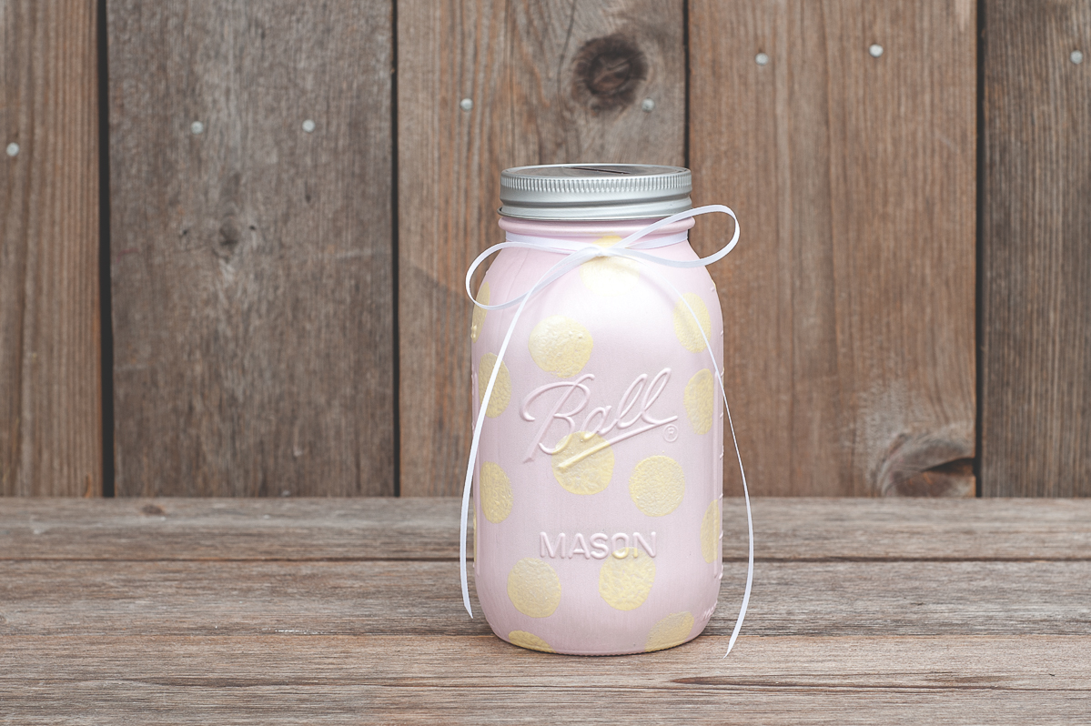 painted mason jar piggy bank