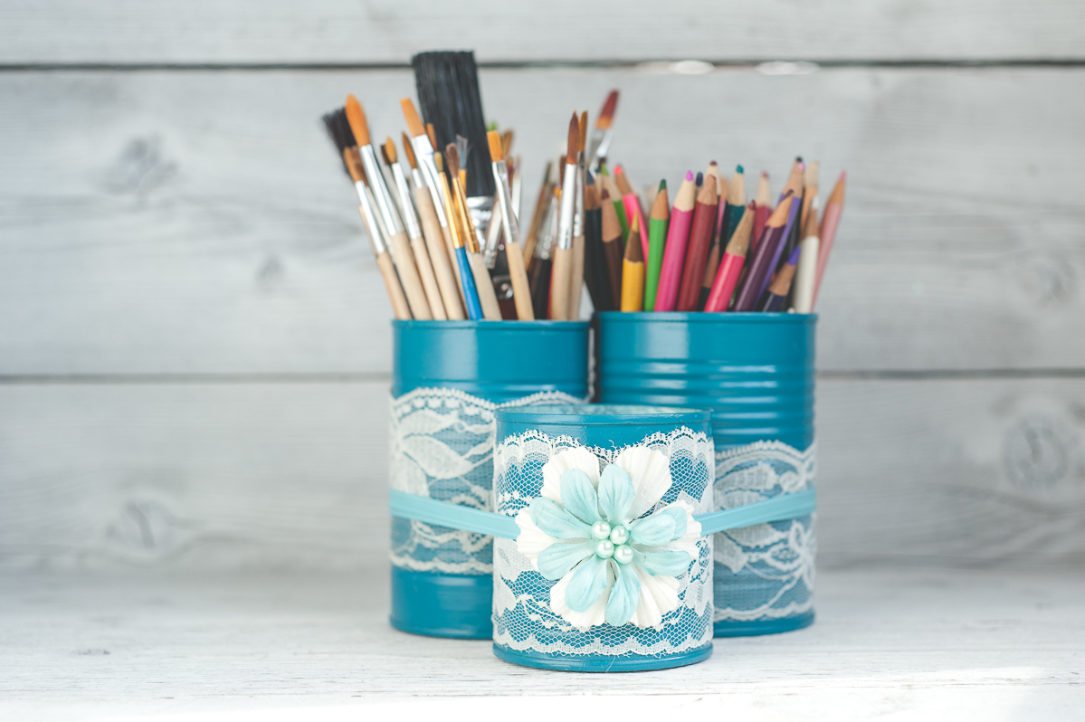 Painted tin can organizer