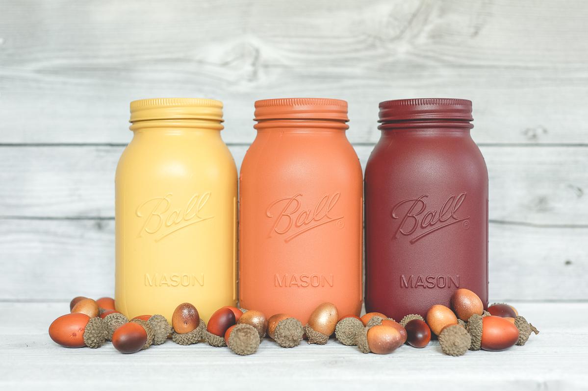 fall color painted mason jars