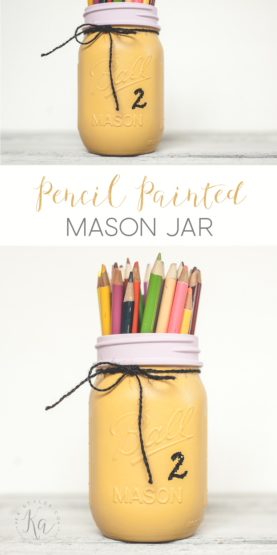 DIY Pencil painted mason jare perfect for a teacher or pencil artist. Using ckalky finish spray paint and a bit of glitter.