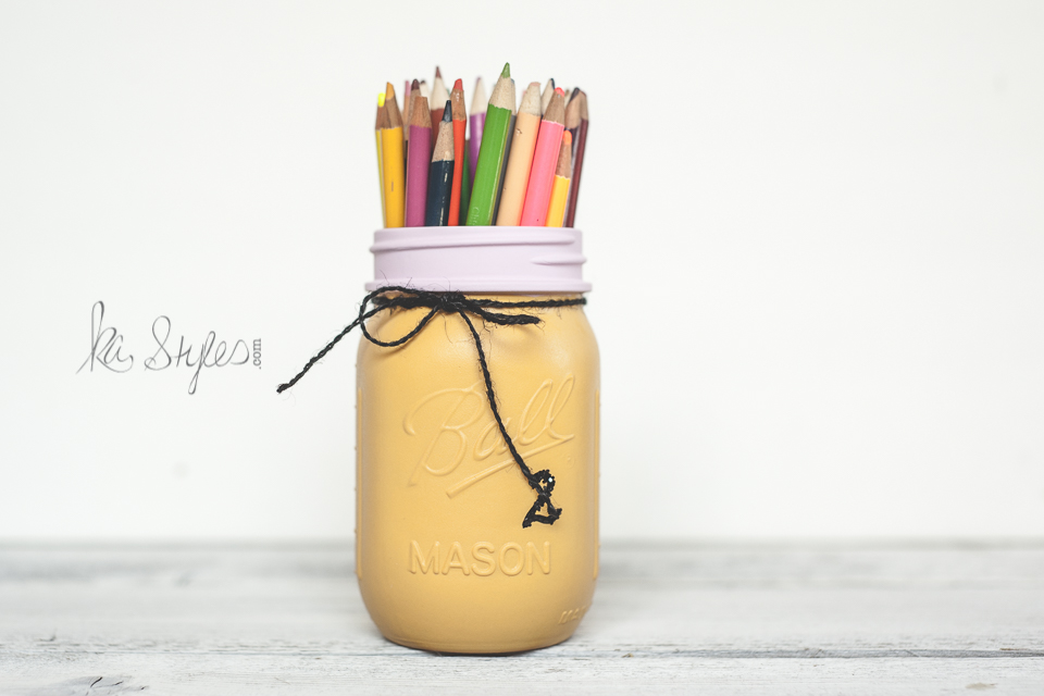 Pencil painted mason jar teachers gift.