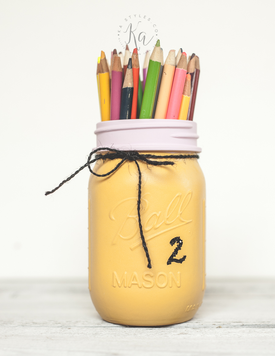 Pencil painted mason jar.