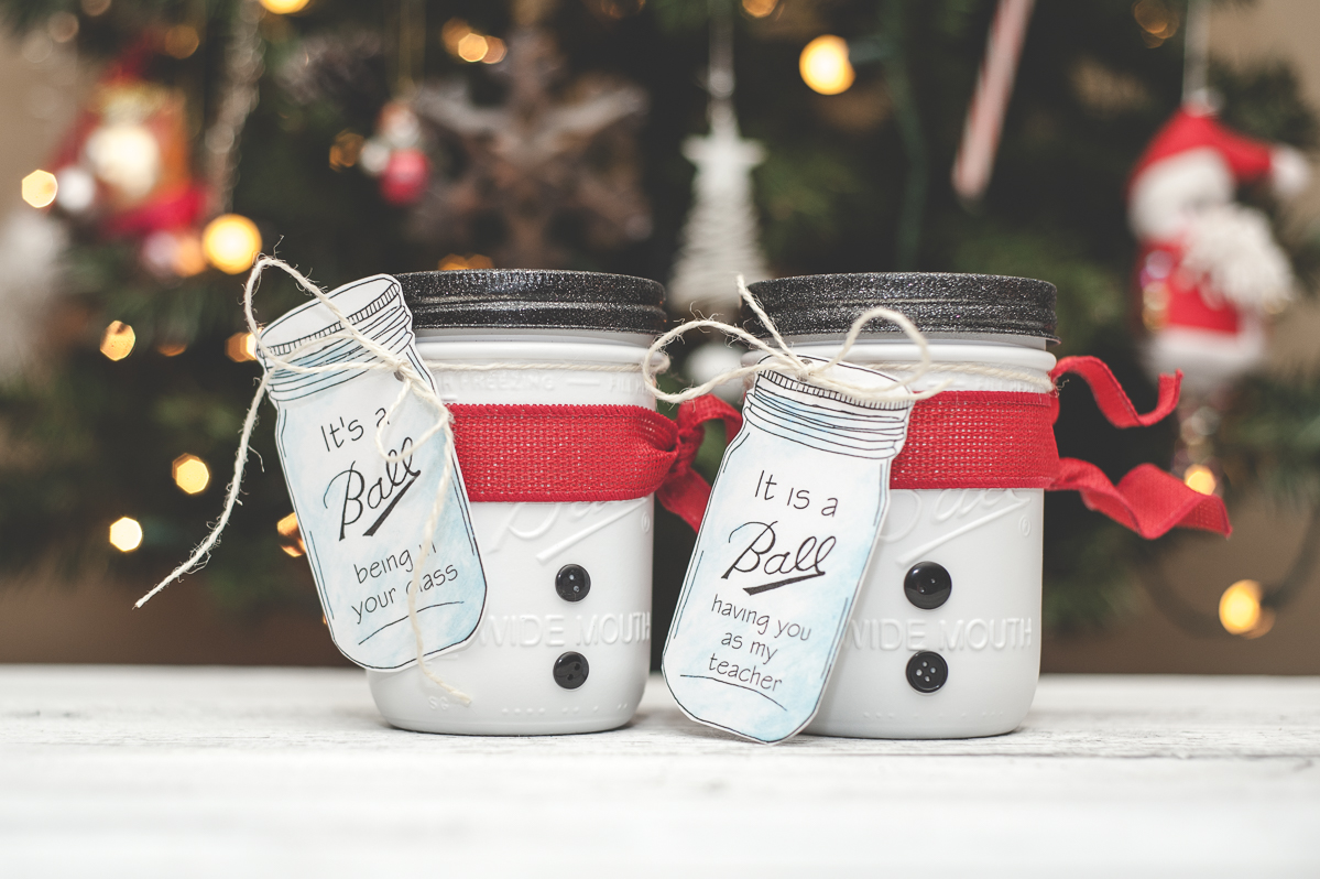 teachers gift mason jars, snowman holiday decor