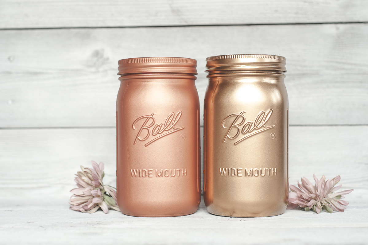 Widemouthed quart painted mason jars copper and blush gold.