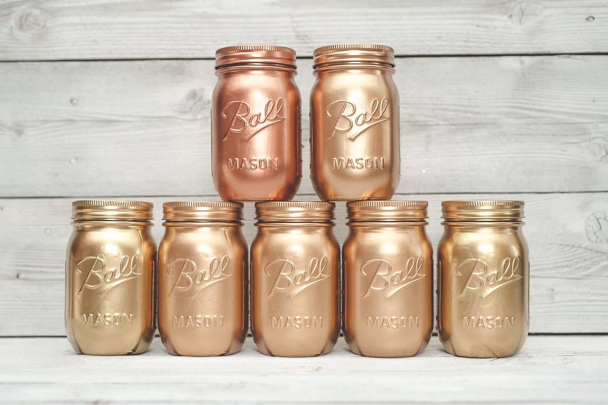 Gold painted mason jars.