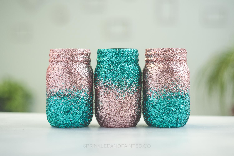 pink and aqua jars glitter mason jars