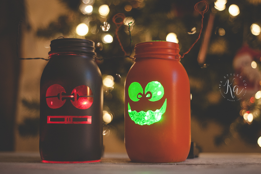 DIY robot and monster night light using LED lights and spray paint.