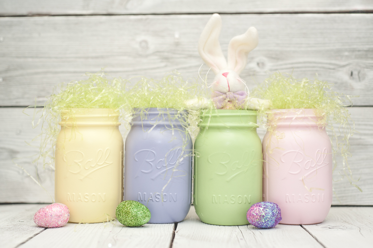 Pastel Easter painted mason jars-3