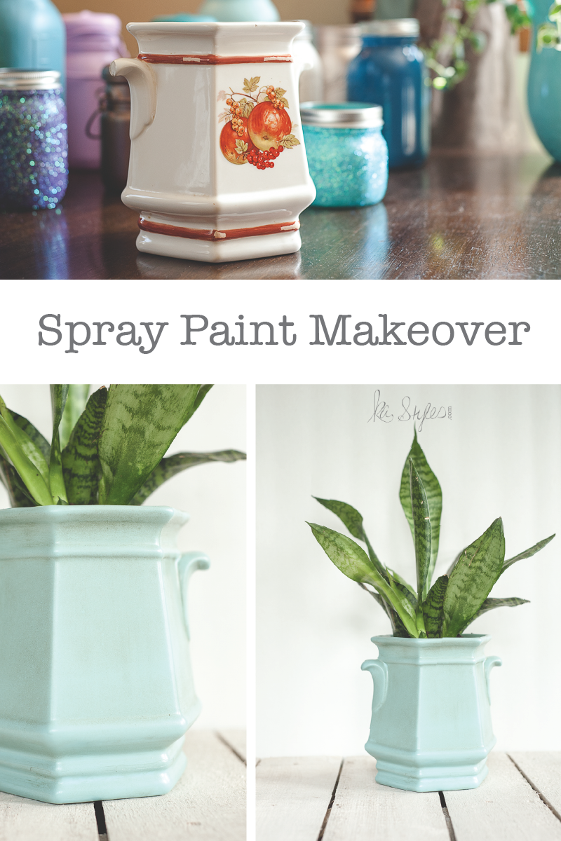 Planter Makeover with Spray Paint & Stain
