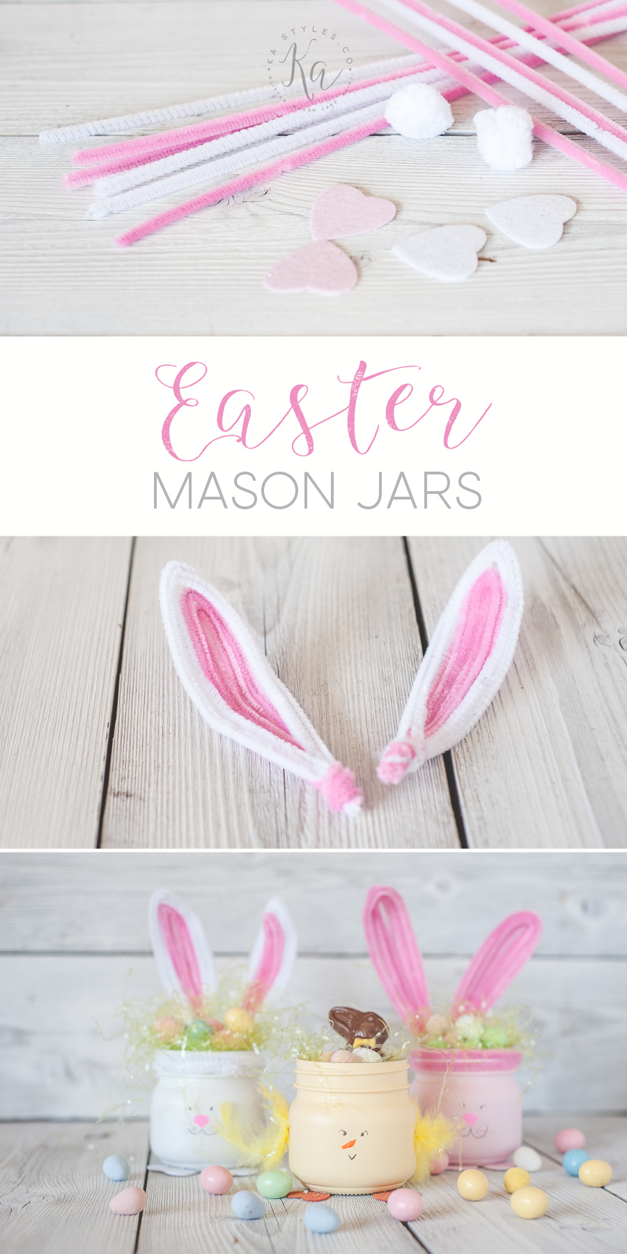 DIY Easter bunny and chic mason jars. Cute gift or decor and can make with the kids.