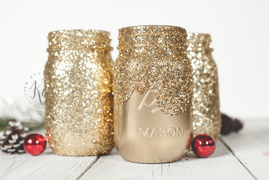 Dipped gold glitter mason jar.