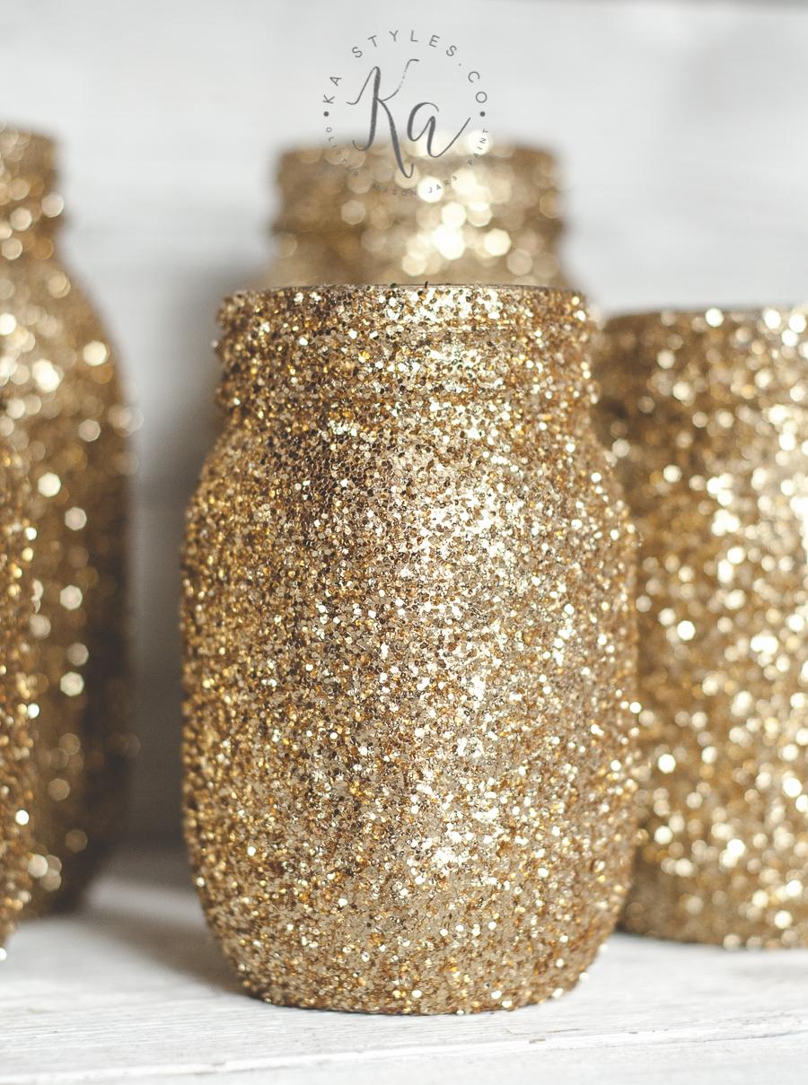 Gold glitter mason jars.