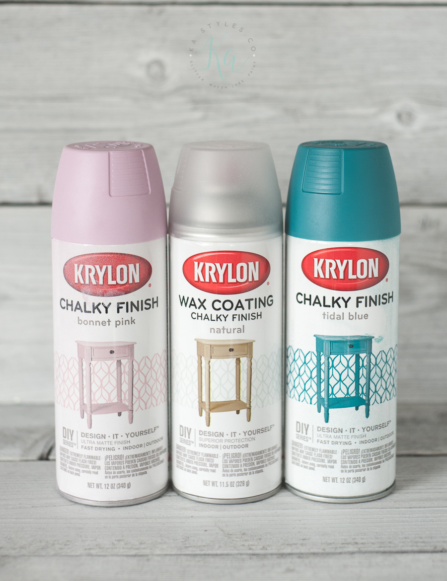Krylon Chalky Finish spray paint. Pink, teal, gray and ivory.