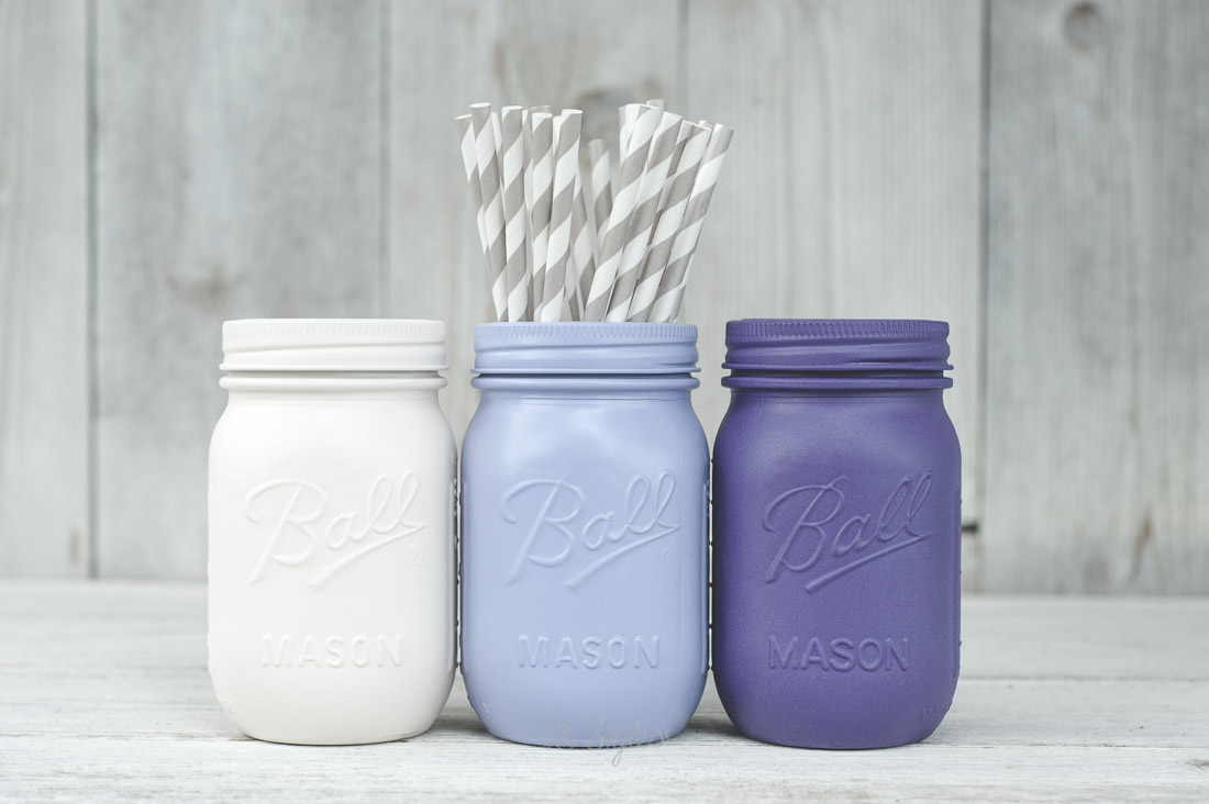 Purple painted mason jars.
