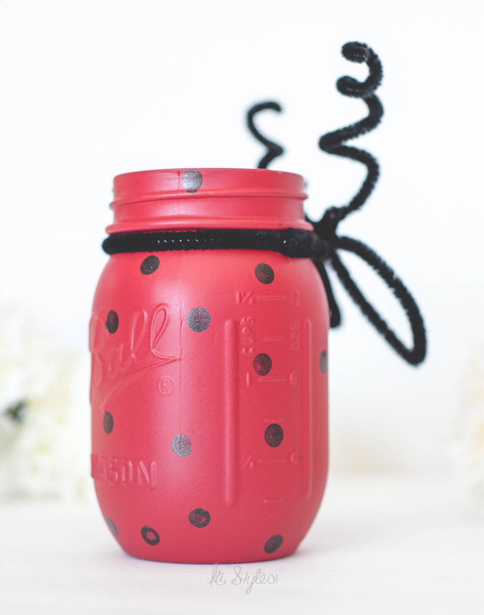 DIY Lady bug painted mason jar.