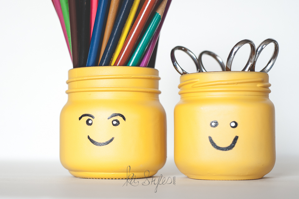DIY Lego head painted mason jars.
