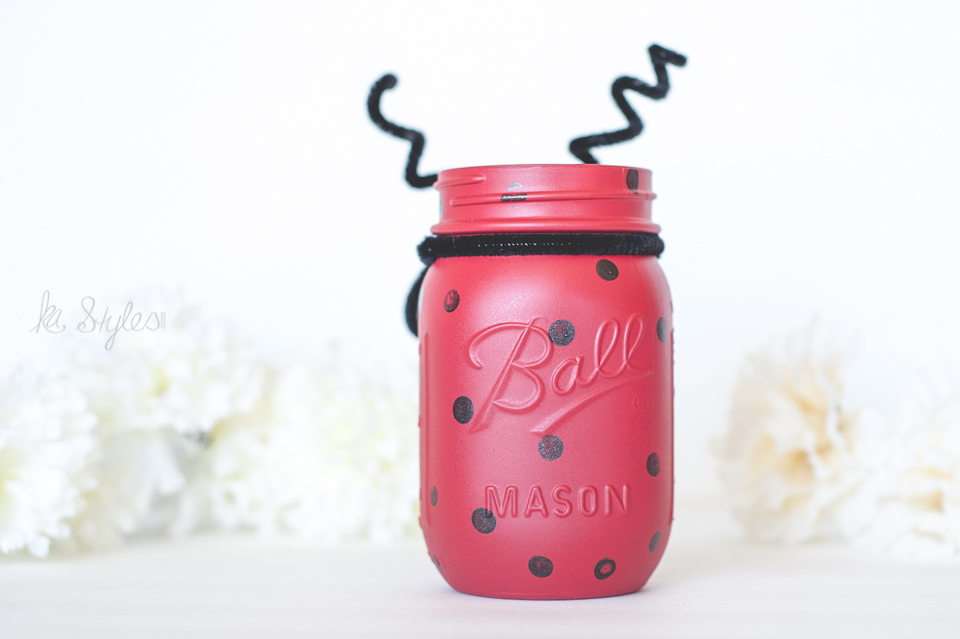 Lady bug painted mason jar decor.