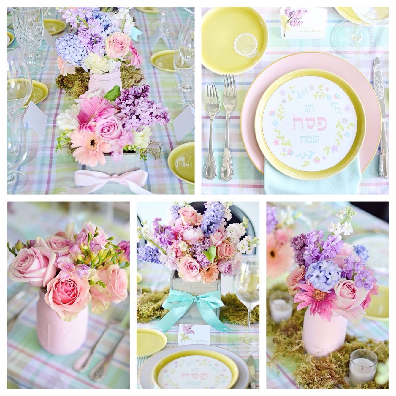 Pink mason jar party and wedding decor.