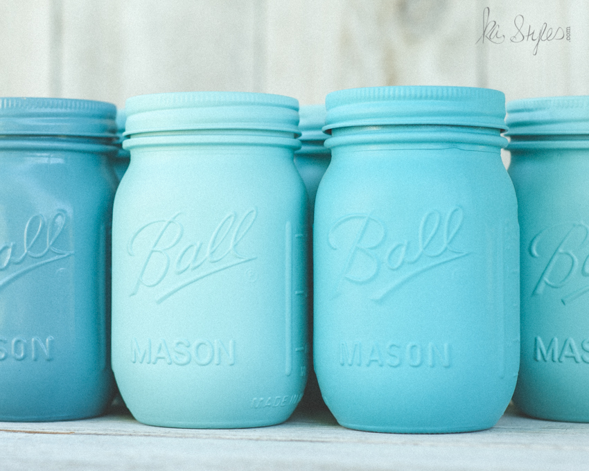 Aqua mason jar printable photograph.