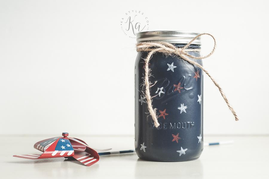 Star stamped July 4th mason jars.
