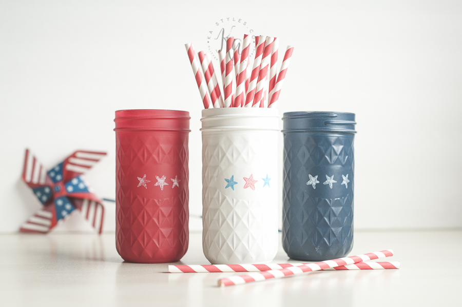 Star stamped July 4th mason jars.