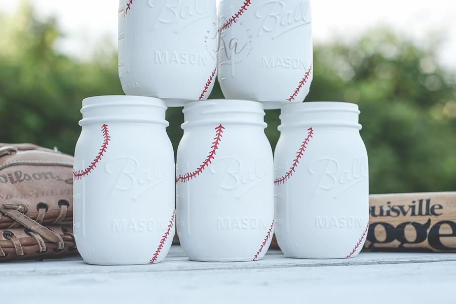 DIY Baseball painted mason jars.