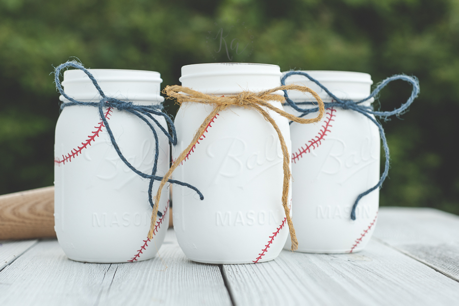 DIY Baseball painted mason jars.