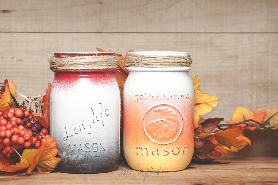 Halloween mason jars. Candy corn painted.