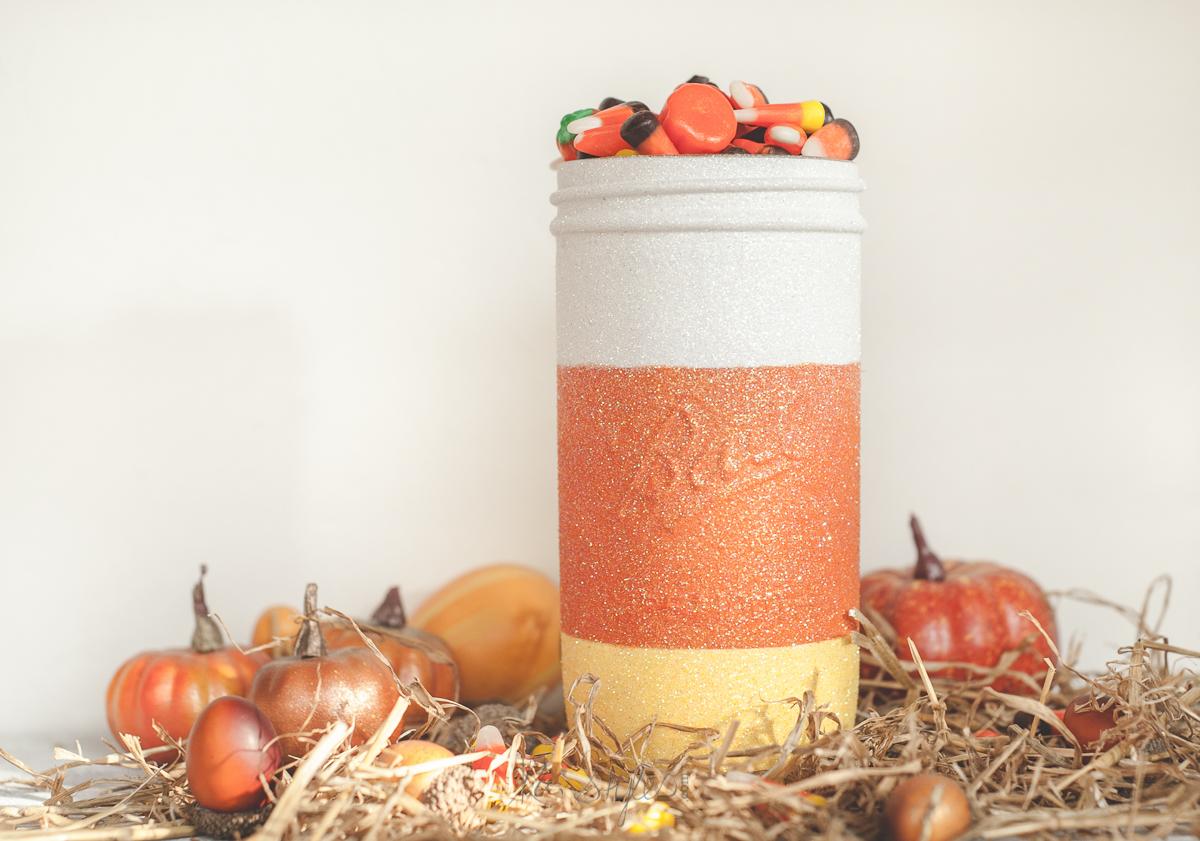 Glitter candy corn mason jar.