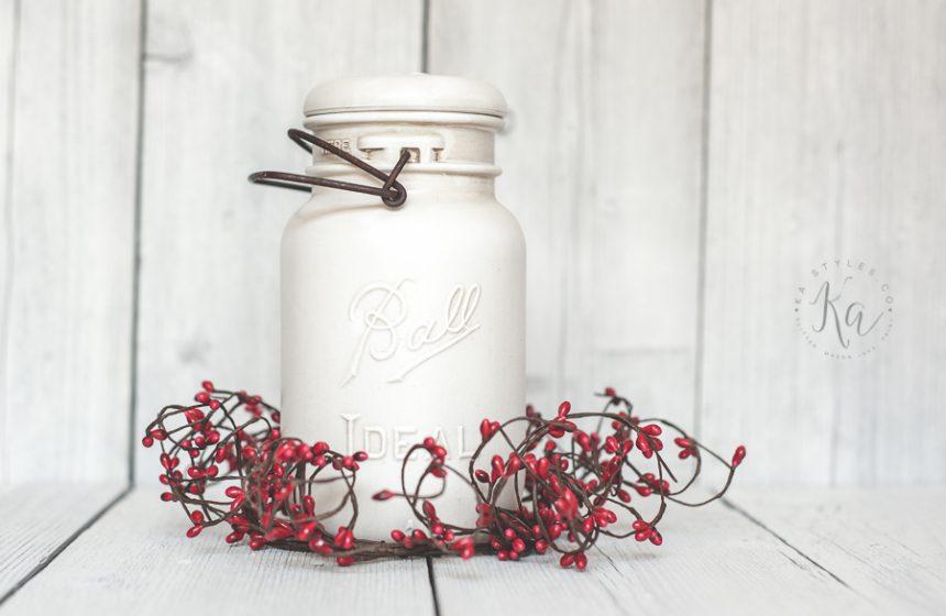 Vintage holiday mason jar decor.