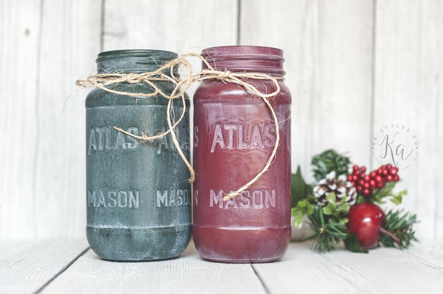 White washed holiday mason jars.
