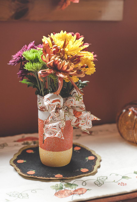 glitter candy corn mason jar