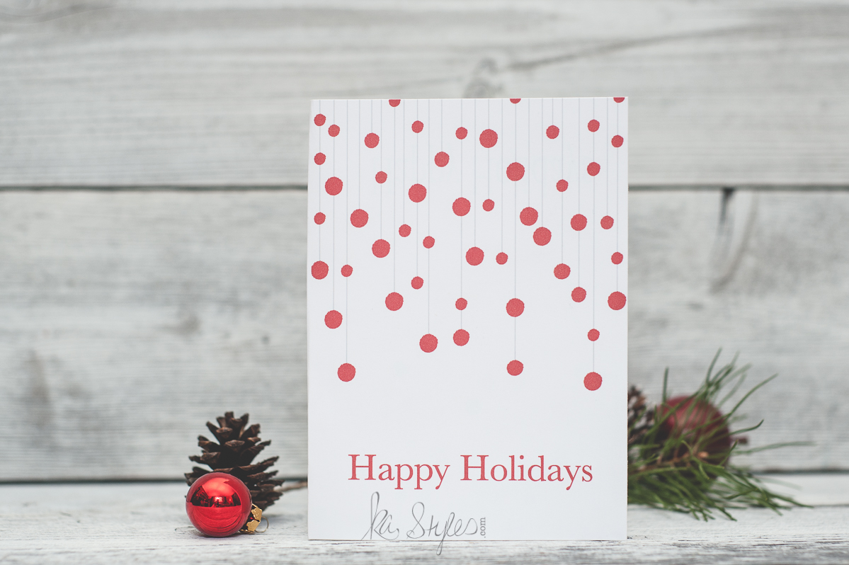 Happy Holidays greeting card. Free printable 5x7 card.
