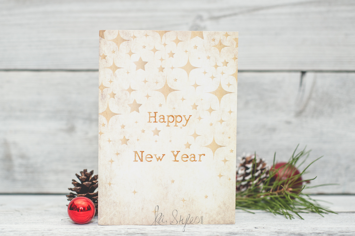 Happy New Year greeting card. Free printable 5x7 card.
