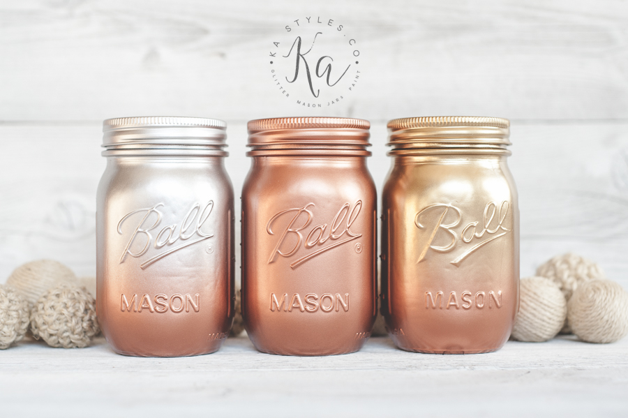 Metallic ombre painted mason jars. Gold, copper, silver.