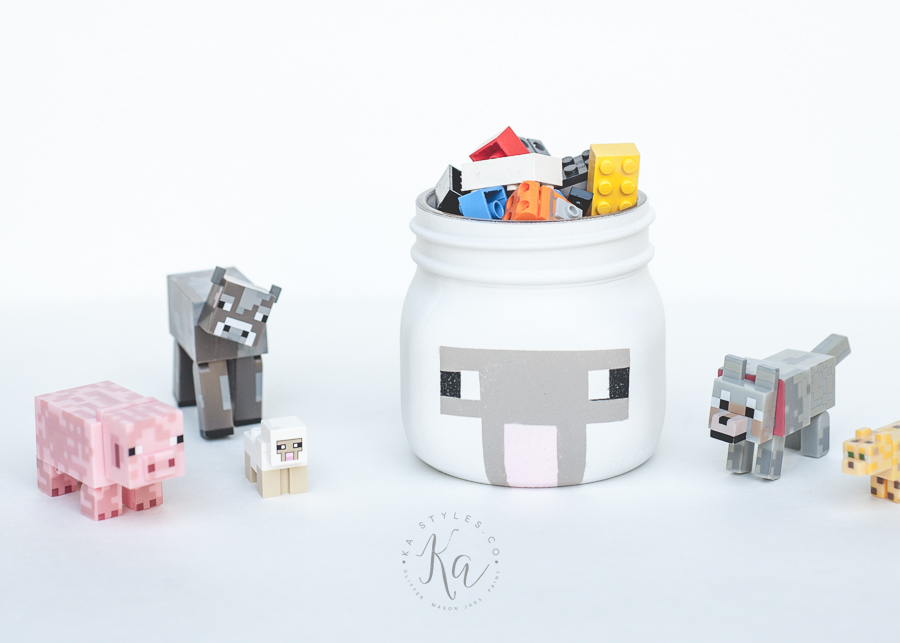 Lego Minecraft mason jar sheep.