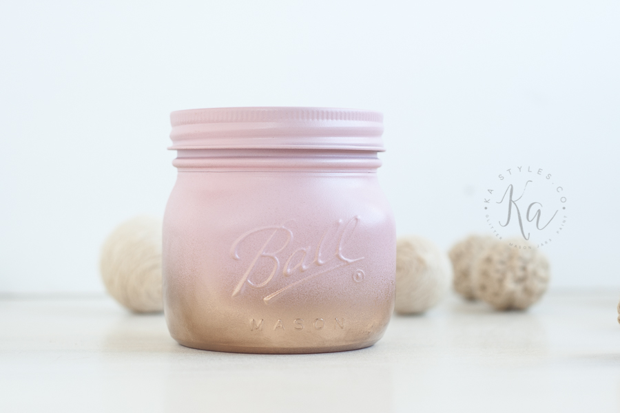 Blush gold and pink mason jars.