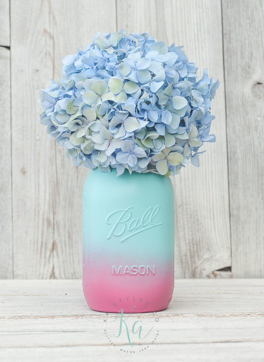 Pink and aqua ombre mason jar.