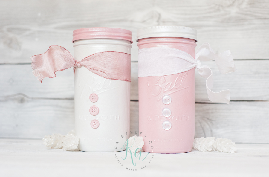 DIY pink and white snowman mason jars.