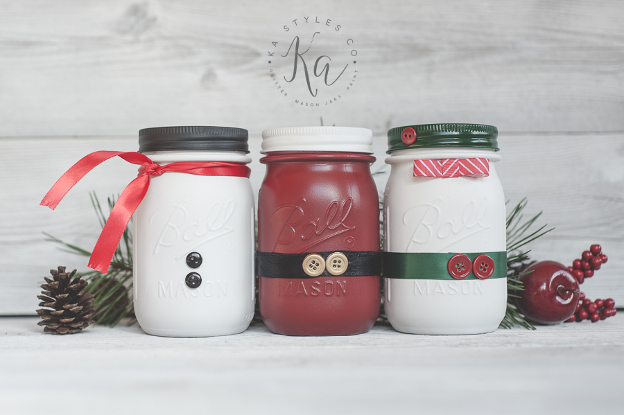Santa, snowman and elf mason jar decor.