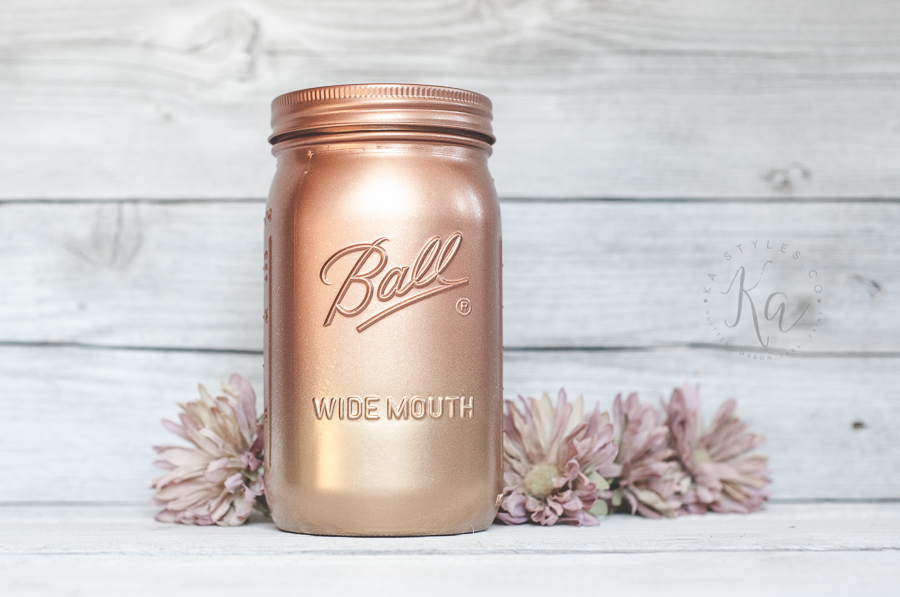 metallic ombre mason jar