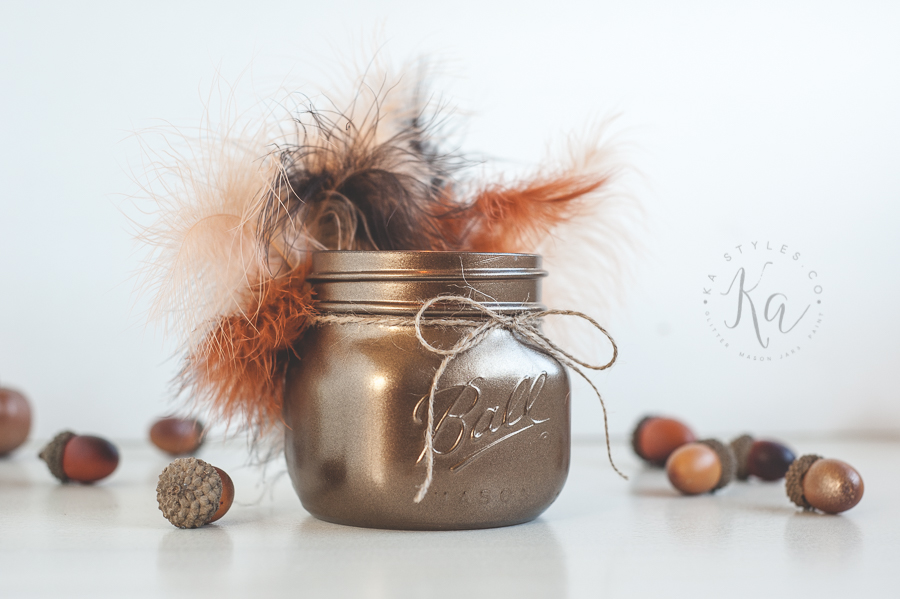 Thanksgiving turkey mason jar decor.