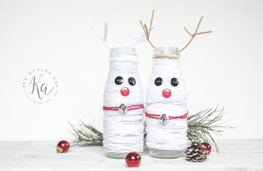 DIY Yarn Snowdeer Jar Decor