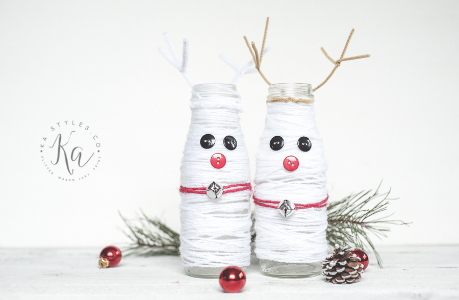 DIY Yarn Snowdeer Jar Decor