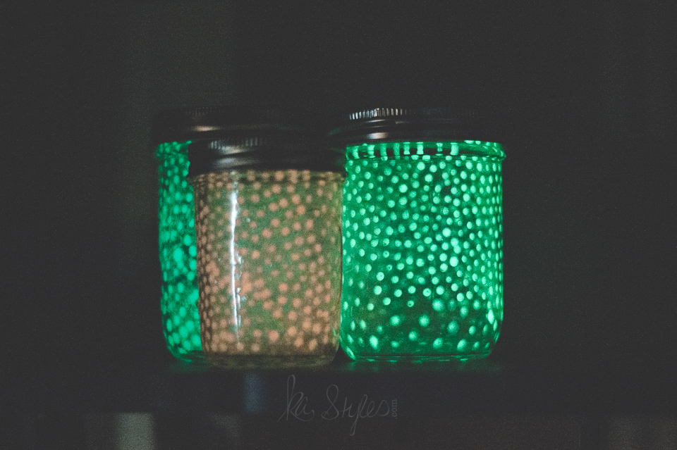 Galaxy- fairy glow in the dark mason jars.